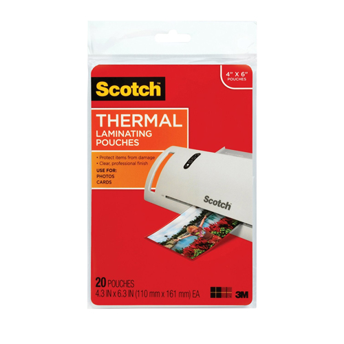"Scotch 4"" x 6"" Photo Size Thermal Laminating Pouches - 20pk (TP5900-20), Scotch brand Image 1"