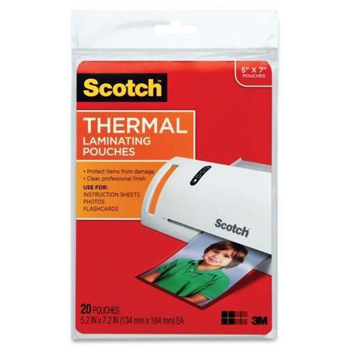 "Scotch 5"" x 7"" Photo Size Thermal Laminating Pouches - 20pk (TP5903-20) Image 1"