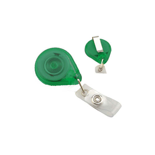 Translucent Green Premium Twist-Free Badge Reels With Belt Clips - 25pk (605-TR-GRN) Image 1