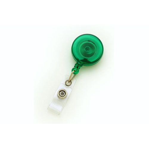 Translucent Green Round Badge Reel with Slide Clip - 25pk (MYID525TRGRN) - $23.59 Image 1
