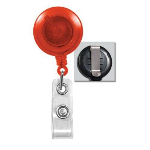 Translucent Orange Round Badge Reel with Belt Clip - 25pk (2120-3605) - $23.59 Image 1