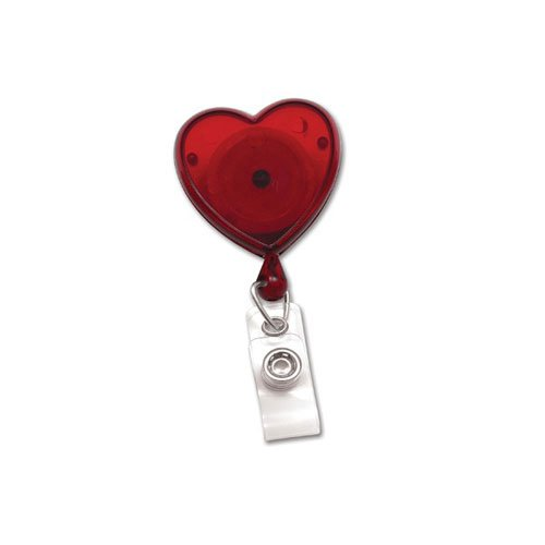 Translucent Red Heart-Shaped Badge Reel - 25pk (MYID580TRRED) Image 1