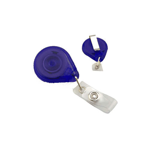 Translucent Royal Blue Premium Twist-Free Badge Reels With Belt Clips - 25pk (605-TR-RBLU) Image 1
