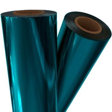 "Turquoise Metallic 12"" x 500' Toner Fusing/Sleeking Foil - 3"" Core (BLU-30-3-12) Image 1"