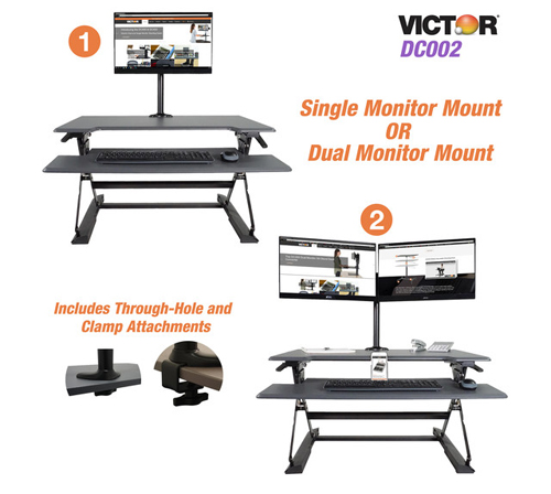 Victor Technology High Rise Monitor Mount with Single and Dual Arm Components (DC002) Image 1