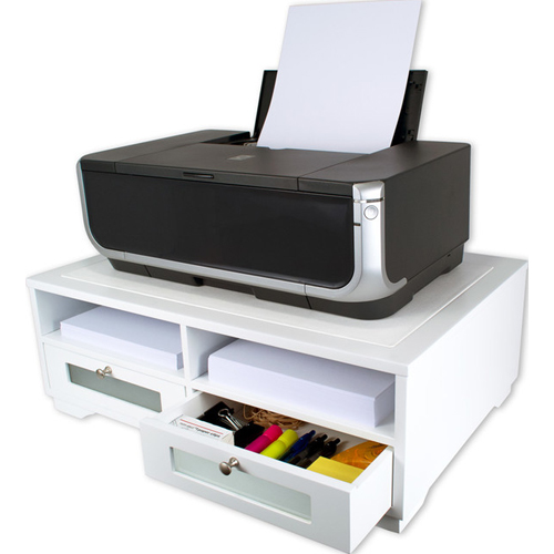 Victor Technology Printer Stand with Shelves and Drawers (Pure White) (W1130) Image 1