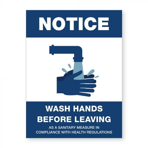"Wash Hands Before Leaving - 8"" x 6"" Acrylic Sign (97PPEWASHW), Work from Home Products Image 1"