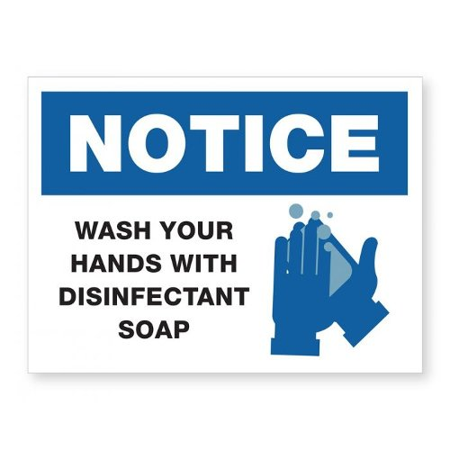 "Wash Hands With Disinfectant Soap - 8"" x 6"" Acrylic Sign (97PPEWASHH), Work from Home Products Image 1"