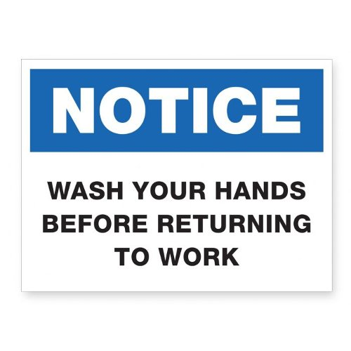 "Wash Your Hands Before Returning To Work - 8"" x 6"" Acrylic Sign (97PPEWORK), Work from Home Products Image 1"