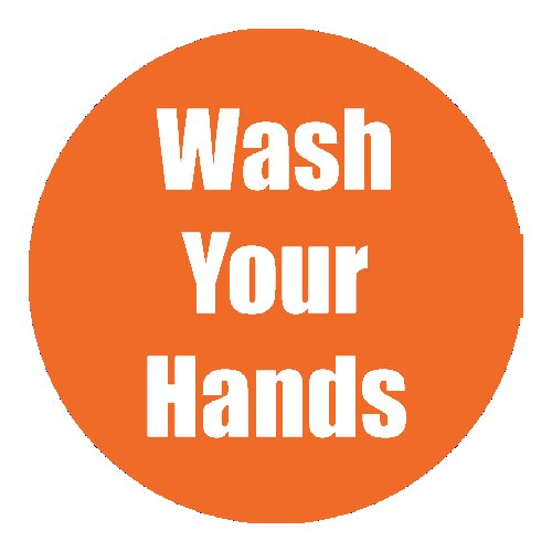 """Flipside """"Wash Your Hands"""" Orange 11"""" Round Non-Slip Floor Stickers - 5pk (FS-97100) Image 1"""