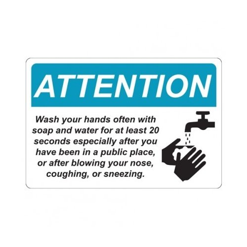"Wash Your Hands 6"" x 9"" Repositionable Signage - 5/Pack (MYBCCSWH6X9) Image 1"