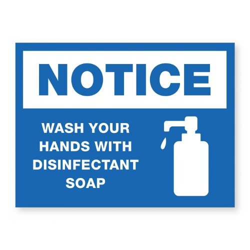 "Wash Your Hands With Disinfectant Soap - 8"" x 6"" Acrylic Sign (97PPEWASHS), Work from Home Products Image 1"