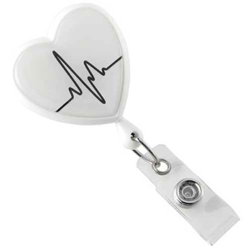 White EKG Themed Heart-Shaped Badge Reel with Swivel Clip -25pk (2120-7638) Image 1