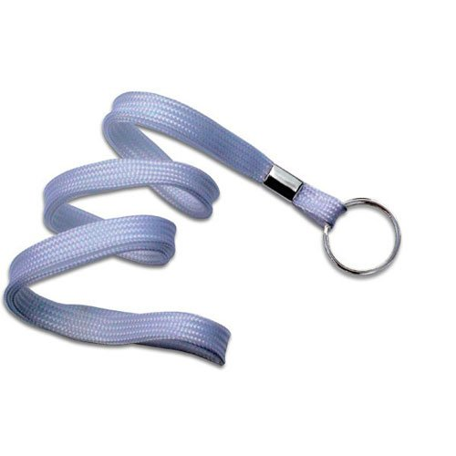 "White Flat Lanyard with Ring - 3/8"" - 100pk (MYIDNF9RWHT) Image 1"