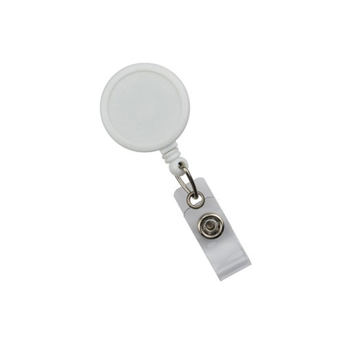 White Max Label Round Badge Reel with Slide Clip - 25pk (MYID905IWHT) - $30.59 Image 1