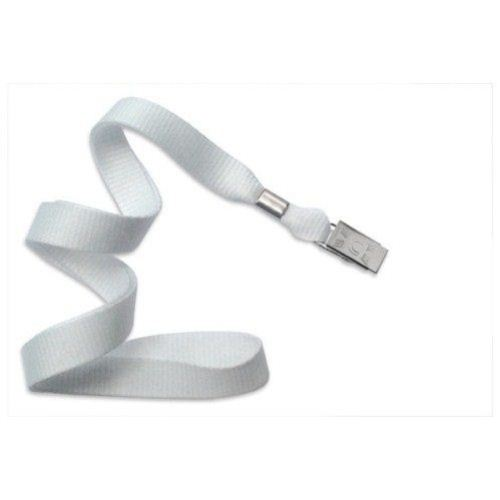 White Microweave Lanyard with NPS Bulldog Clip - 100pk (2136-3558) Image 1