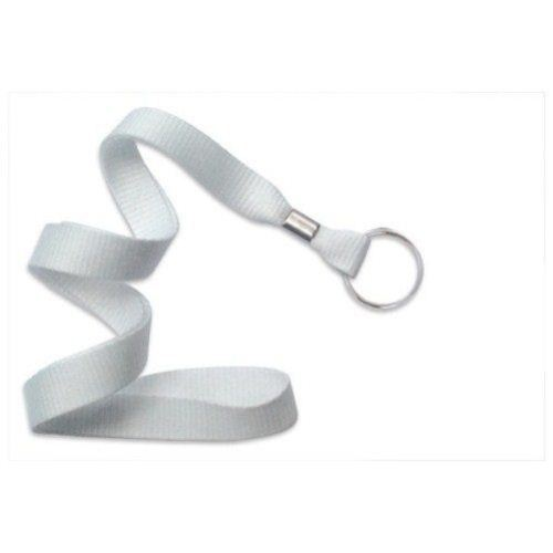 White Microweave Lanyard with NPS Split Ring - 100pk (2136-3658) Image 1