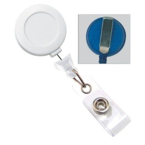 White No-Twist Badge Reel with Belt Clip - 25pk (2120-3053)