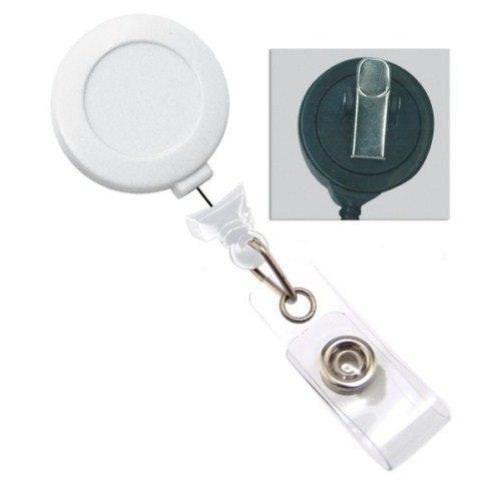 White No-Twist Badge Reel with Swivel Clip - 25pk (2120-7643)