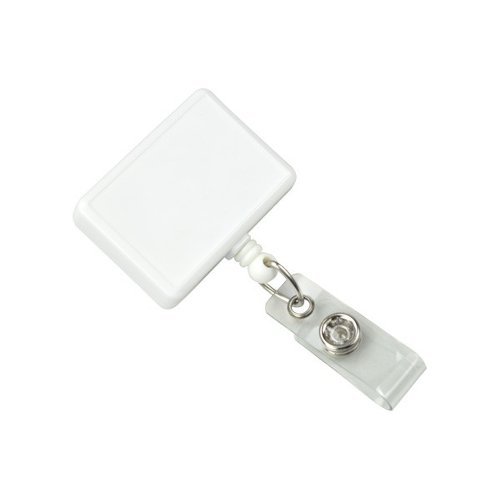 White Rectangle Badge Reel With Swivel Clip and Clear Vinyl Strap - 25pk (2120-3908) - $39.09 Image 1
