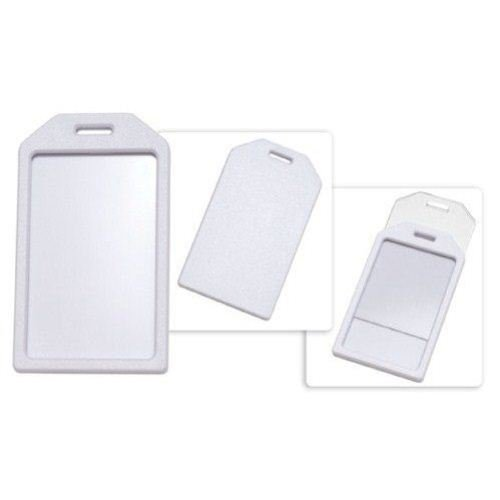 White Rigid Plastic Heavy Duty Luggage Tag Holders - 100pk (1840-6208) Image 1