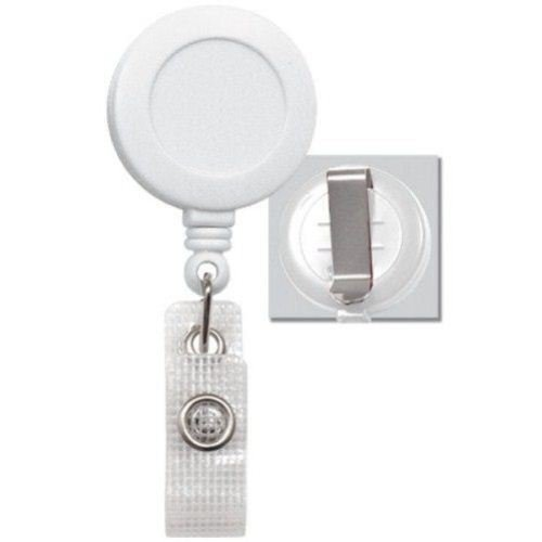 White Round Badge Reel with Belt Clip and Reinforced Strap - 25pk (2120-3008) Image 1