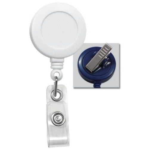 White Badge Reel with Swivel Clip Image 1