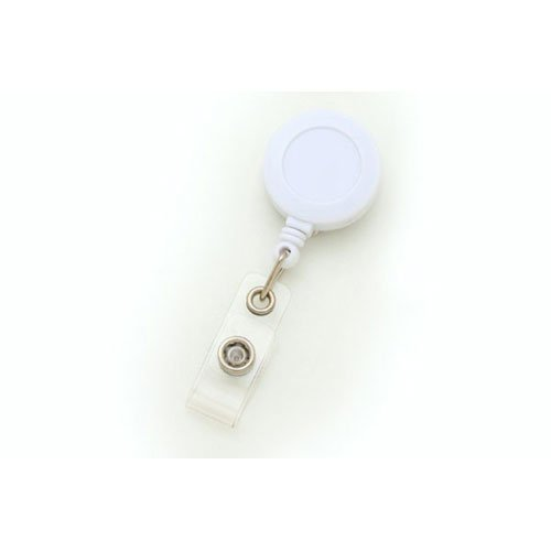 White Round Retractable Badge Reel with Slide Clip - 25pk (MYID525IWHT) - $23.59 Image 1