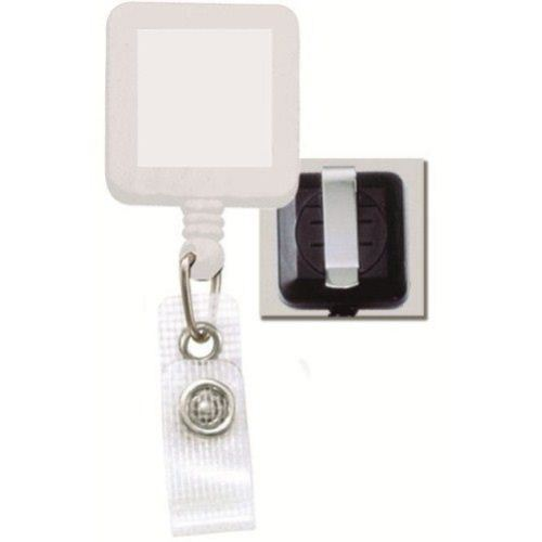White Square Badge Reel with Belt Clip and Reinforced Strap - 25pk (2120-3828) Image 1
