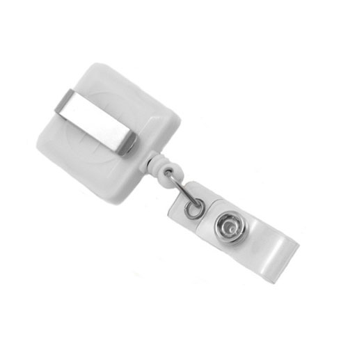 White Square Badge Reel with Slide Clip - 25pk (MYID530IWHT) - $24.59 Image 1