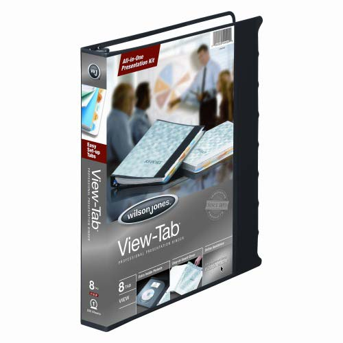 "Wilson Jones 1"" Black 8 Tab View-Tab Binder 12pk (W55095) Image 1"
