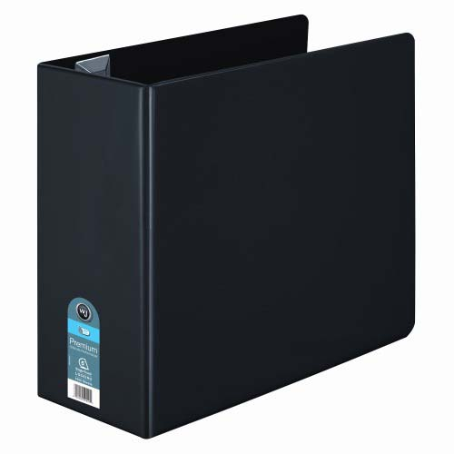 "Wilson Jones 5"" Black Premium Opaque D-Ring Binders 2pk - PP (W87615) Image 1"