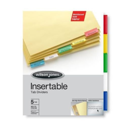 Wilson Jones 5-tab Clear Gold Pro Buff Insertable Tabs (W54125), Wilson Jones brand Image 1