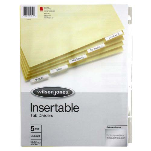 Wilson Jones 5-tab Clear Single-Sided Insertable Tab Indexes - A (W54310), Wilson Jones brand Image 1