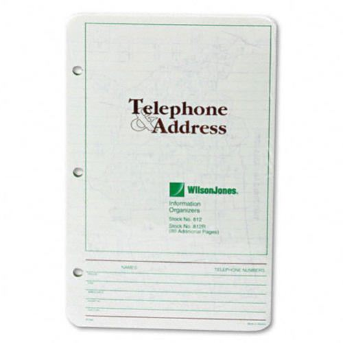 Wilson Jones Telephone Address Book Green Refill 10pk (W812R) Image 1