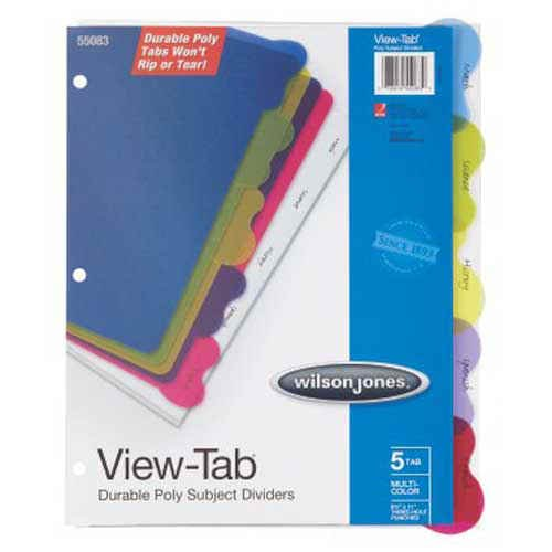 Wilson Jones View-Tab 5 Tab Index Transparent Dividers (W55083) Image 1