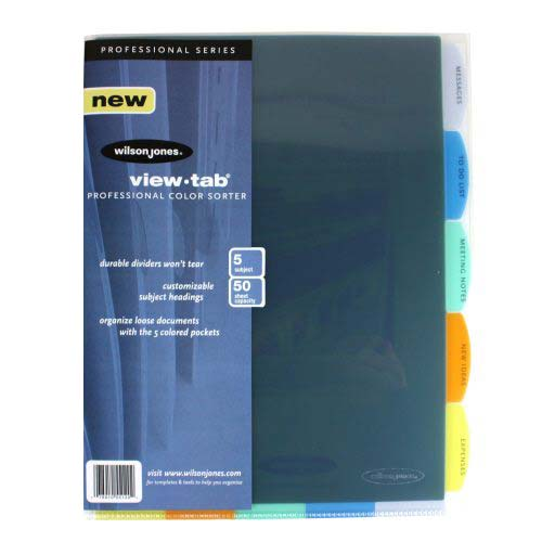 Wilson Jones View-Tab 5 Tab Multicolor Professional Sorter (W55120) Image 1
