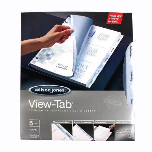 Wilson Jones View-Tab 5 Tab Square Clear Dividers (W55066) Image 1