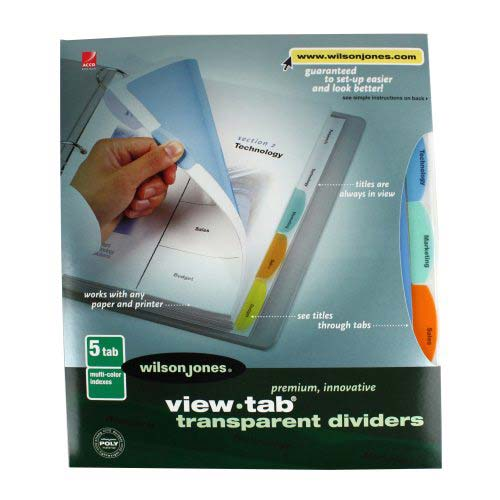 Wilson Jones View-Tab 5 Tab Square Multicolor Dividers (W55065) Image 1