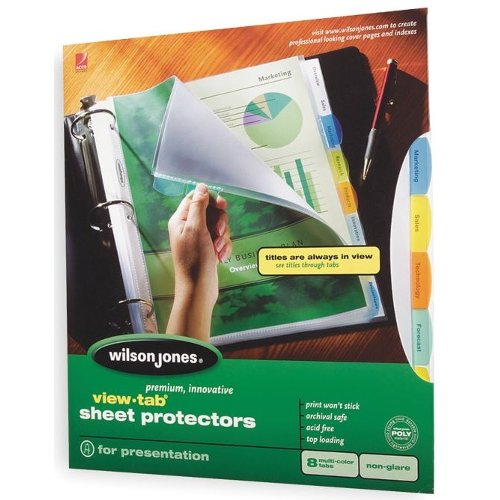 Wilson Jones View-Tab 8-Tab Sheet Protectors (W55115) Image 1