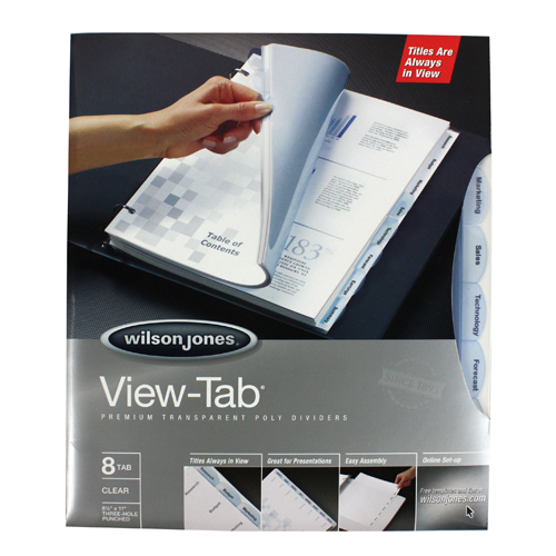 Wilson Jones View-Tab 8 Tab Transparent Dividers (W55068) Image 1