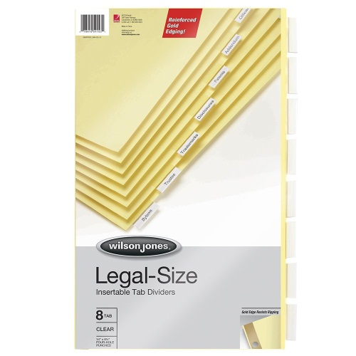 Wilson Jones 8-tab Gold Legal Size Insertable Tab Indexes (W54153)