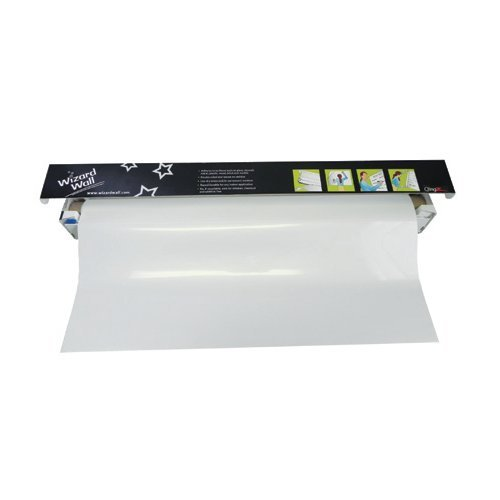 "Wizard Wall 27.5"" x 40' Jumbo White Static ClingZ Film White Board System (WZW-27540SBW) Image 1"