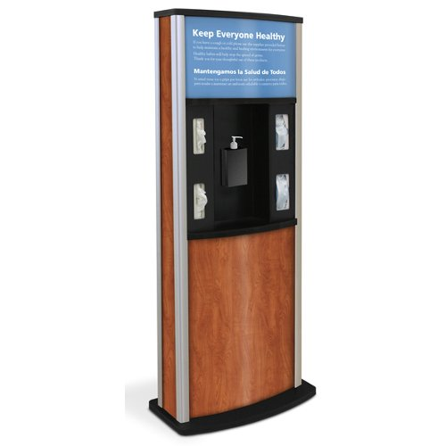 Quartet Infection Control Kiosk (Wood Grain) (HW30KIOSK900-Wood) Image 1