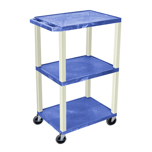 "H. Wilson Blue 42"" High Tuffy Utility A/V Cart(3-Shelf Putty Legs) (WT42BUE) - $128.13 Image 1"