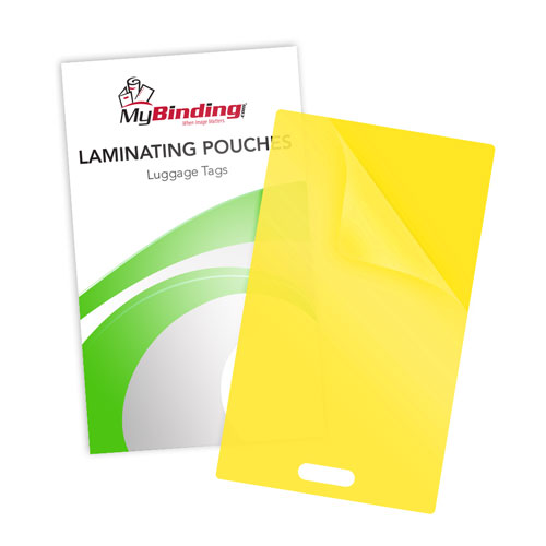 Yellow 10mil Luggage Tag With Slot Laminating Pouches 100pk (LKLP10LUGGAGEWSYE) Image 1