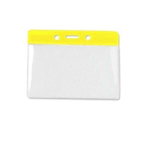 Yellow Credit Card Size Horizontal Color-Bar Badge Holders - 100pk (1820-1009), MyBinding brand Image 1