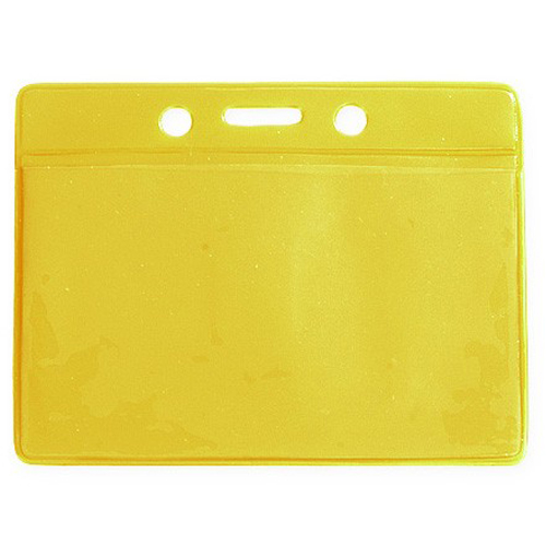Yellow Credit Card Size Horizontal Colored Back Badge Holders - 100pk (1820-2009) Image 1