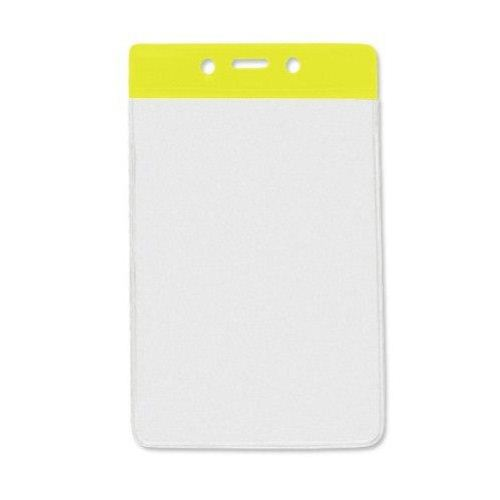 Yellow Credit Card Size Vertical Color-Bar Badge Holders - 100pk (1820-1059), MyBinding brand Image 1