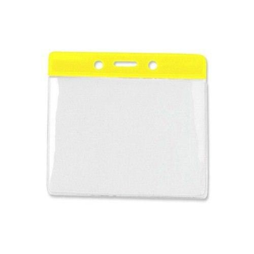 Yellow Extra Large Horizontal Color-Bar Badge Holders - 100pk (1820-1209), MyBinding brand Image 1